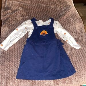 Thanksgiving girls overalls and baby onesie
